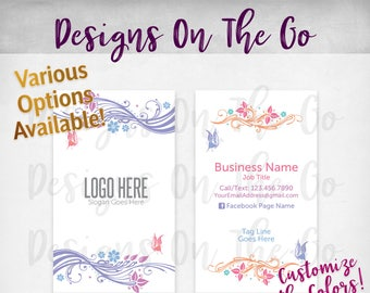 Butterfly Swirls Business Cards, Custom, Customize Colors, Various Options, Direct Sales, Consultant, Branding, Marketing, Foil