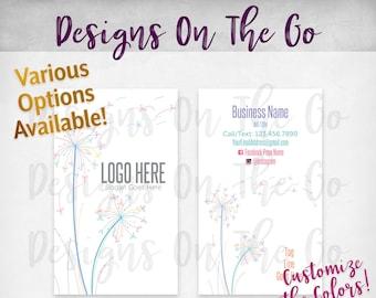Dandelion Business Cards, Custom, Customize Colors, Various Options, Direct Sales, Consultant, Branding, Marketing, Foil