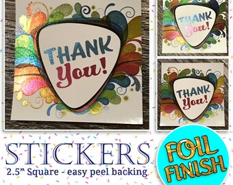 """Stickers, Thank You Sticker, Foil Finish, 2.5 inch square, Packaging, appreciation, shiny, color, 2.5"""" x 2.5"""", Direct Sales, Consultant"""