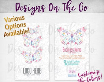 Butterfly Beauty Business Cards, Custom, Customize Colors, Various Options, Direct Sales, Consultant, Branding, Marketing, Foil