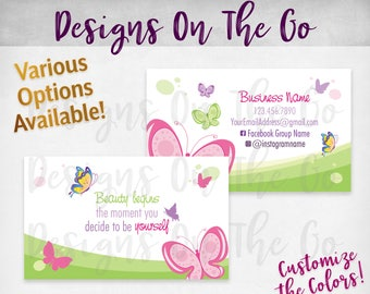 Butterfly Business Cards, Custom, Customize Colors, Various Options, Direct Sales, Consultant, Branding, Marketing, Foil