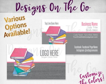 Book Stack Business Cards, Custom, Customize Colors, Various Options, Direct Sales, Consultant, Branding, Marketing, Foil