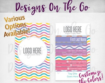 Clean Waves Business Cards, Custom, Customize Colors, Various Options, Direct Sales, Consultant, Branding, Marketing, Foil