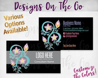 Blooming Stars Black Business Cards, Custom, Customize Colors, Various Options, Direct Sales, Consultant, Branding, Marketing, Foil