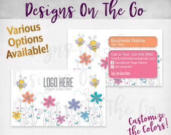 Buzzing Bee Business Cards, Custom, Customize Colors, Various Options, Direct Sales, Consultant, Branding, Marketing, Foil