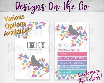 Bird Business Cards with Photo, Custom, Customize Colors, Various Options, Direct Sales, Consultant, Branding, Marketing, Foil