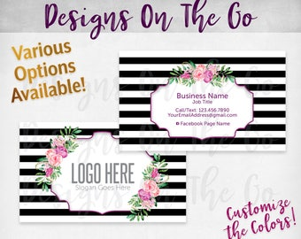 Floral Stripes Business Cards, Custom, Customize Colors, Various Options, Direct Sales, Consultant, Branding, Marketing, Foil