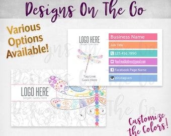 Dragonfly Business Cards, Custom, Customize Colors, Various Options, Direct Sales, Consultant, Branding, Marketing, Foil