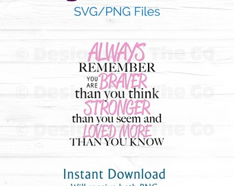 Always Remember SVG, PNG, Always remember you are braver than you think, Instant Download, Vector, Digital File, DIY, Cutting Machine Ready