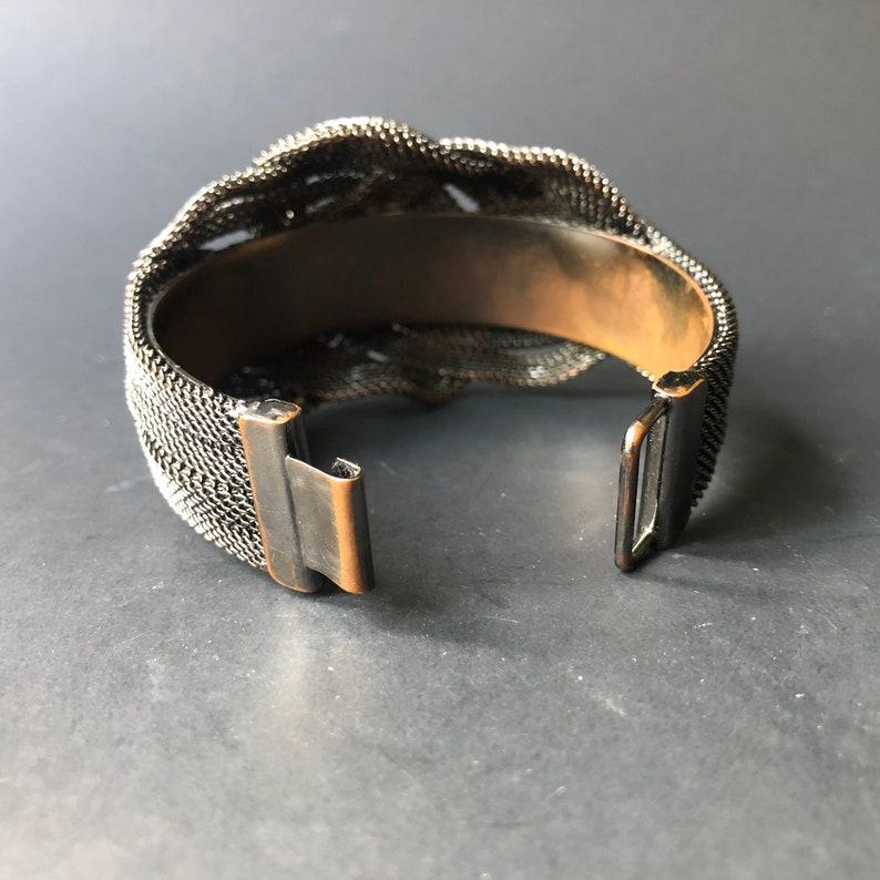 1990s Gray Dark Gunmetal Silver Metal Gothic Celtic Knot Cuff Bracelet