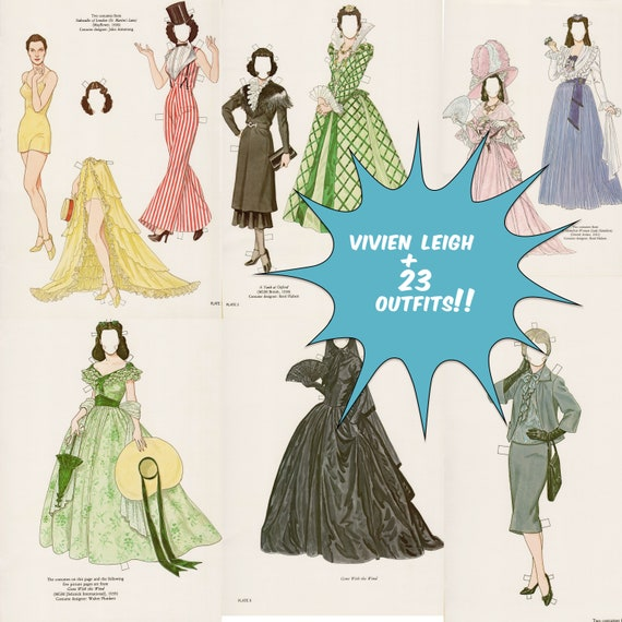 1980s Hollywood Movie Stars Paper Dolls with 12 Outfits Digital Download Clip Art VOLUME 1