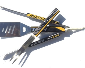 3 Piece Set: Genuine 'HOCKEY TONK BBQ' barbeque utensils. Spatula/Fork/Tongs. Made from recycled hockey sticks. Bauer Supreme Mx3 brand.