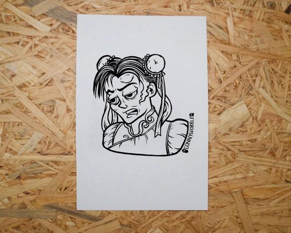 Street Fighter 2 Inspired Giclee Art Print Chun Li Digital Colouring Sheet