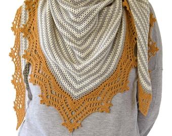 CROCHET PATTERN: Tayna Shawl/Triangular Crochet Shawl/Lace Shawl/Modern Crochet Scarf/Striped Crochet Shawl/Crochet Shawl With Lace Border