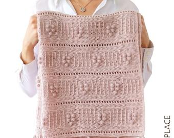 CROCHET  PDF PATTERN: Signature of trees blanket/Modern crochet blanket/Bobble stitch crochet baby blanket/Textured crochet afghan/