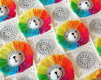 Crochet Pattern Baby Blanket / Baby blanket crochet / Rainbow Lion Baby Blanket/ Crochet baby/ Baby crochet blanket /Crochet blanket pattern