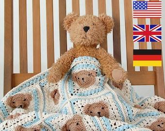 CROCHET PATTERN: Teddy Bear Baby Blanket/Step-by-step tutorial/Häkelanleitung/Animal Afghan/Granny Square Blanket/Modern Crochet Blanket