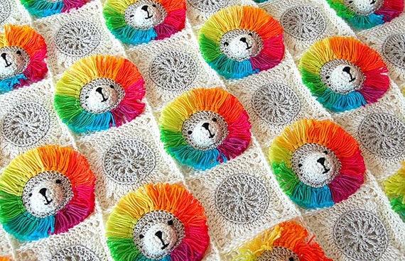 Häkeln Muster-Baby-Decke / Decke häkeln Baby / Rainbow Löwe | Etsy