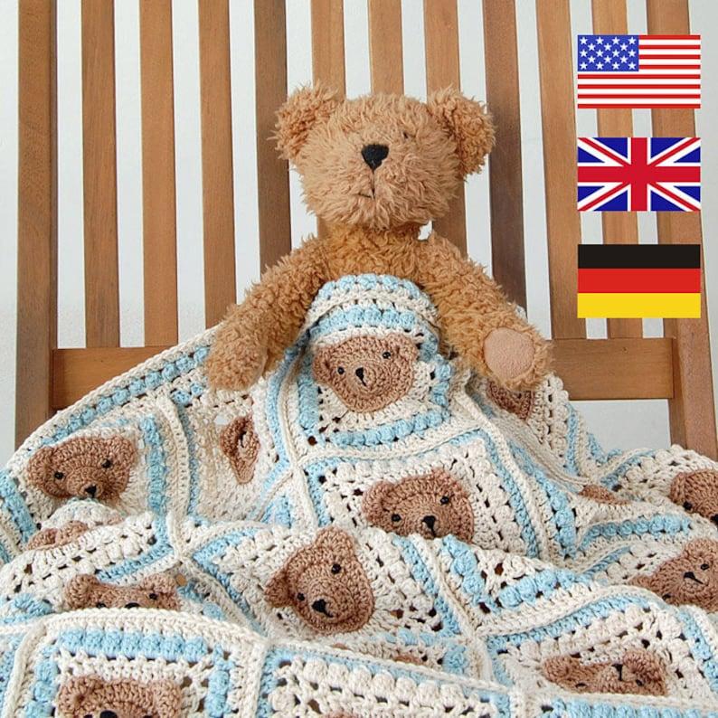 46701cca01c10 CROCHET PATTERN: teddy bear crochet baby blanket pattern and step-by-step  tutorial, Häkelanleitung, baby afghan