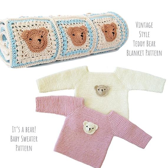 400d80a18cc19 2 teddy bear crochet pattern pack/teddy bear blanket pattern/teddy bear  sweater pattern