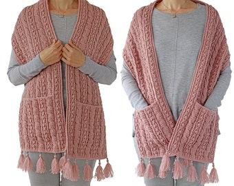 CROCHET  PDF PATTERN: Cable Pocket Shawl/Boho Crochet Shawl/Crochet Wrap With Pockets/Crochet Cable Shawl/Modern Crochet Pocket Shawl