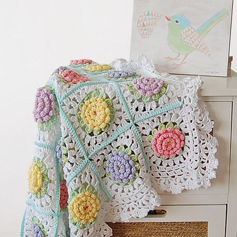 6bcc5fdc0e708 Flower blanket pattern/ Crochet baby afghan/ Crochet afghan/Granny  blanket/Victorian Flower Baby Blanket/Flower blanket/Flower granny square