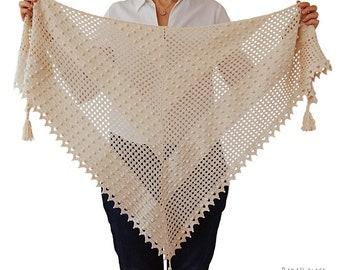 CROCHET PATTERN: Awana Shawl/Summer Crochet Shawl/Wedding Shawl/Crochet Lace Shawl/Triangular Crochet Scarf/Bobble Stitch Shawl/Modern Shawl
