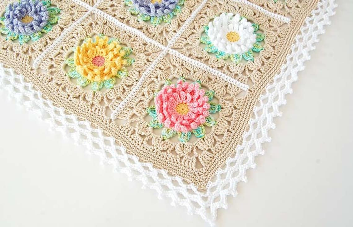 Manta floral PDF patrón/Floral bebé manta/inglés jardín manta | Etsy