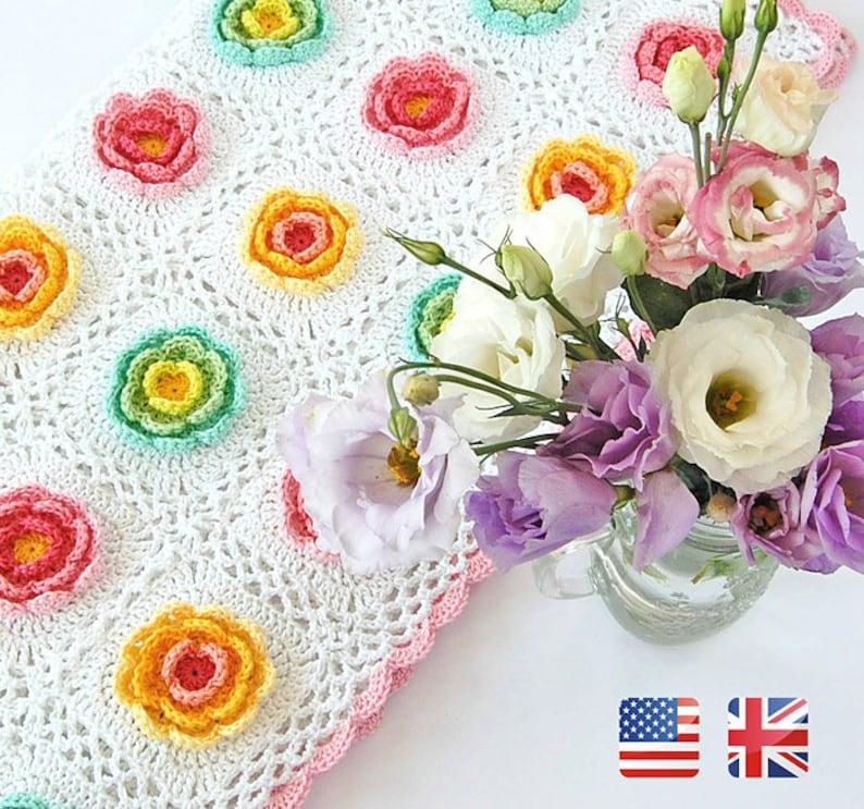 Blooming Baby Blanket Pattern Flowery Crochet Blanket Etsy