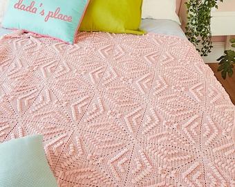 CROCHET PATTERN: Menya Blanket/Popcorn Stitch Blanket/Vintage Crochet Blanket/Granny Square Blanket/Modern Crochet Afghan/Textured Blanket