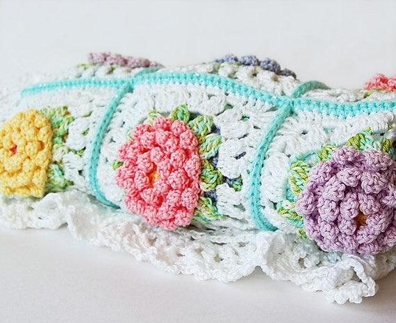 Blumen-Muster der Decke / Baby Strickdecke / afghanisch/Oma | Etsy