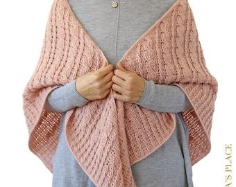 CROCHET PATTERN: Gretta Shawl/Crochet Cable Shawl/Triangle Crochet Wrap/Cable Scarf/Crochet step-by-step tutorial