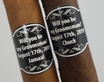 Custom Cigar Labels Be My Groomsman Bestman Cigar Labels Anniversary Milestone Cigar Labels Wedding Cigar Labels Personalized Design Cigars