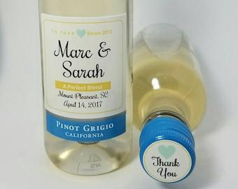 Personalized Wedding Mini Wine Labels Cap Labels Party Favor Set Fits 187ml Sutter Home Bridal Shower Baby Shower Mini Wine Waterproof Label