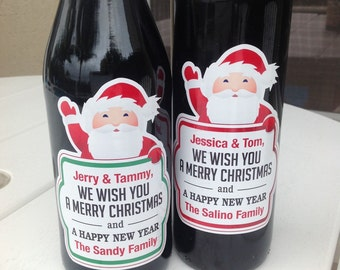 personalized christmas wine label santa claus holiday wine bottle labels party favors holiday waterproof wine labels new year wine labels