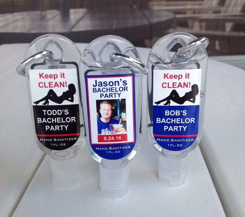 Personalized Bachelor Party Favor Hand Sanitizer 1oz Clip image 0