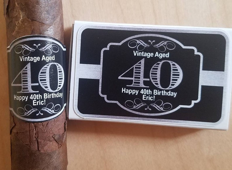 Personalized Cigar Labels Matchbox Set Bachelor Party Birthday image 0