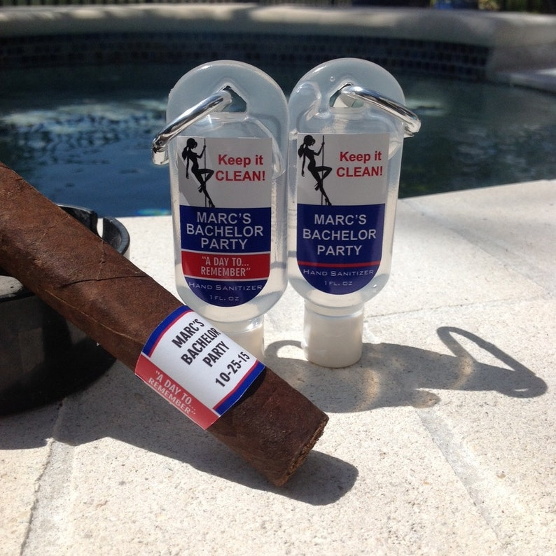 Personalized Bachelor Party Cigar Labels 1oz Hand Sanitizer image 0