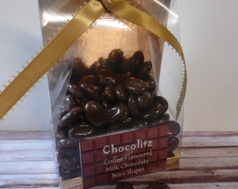 150gr Coffee Flavoured Milk Chocolate Coffee Bean Shapes = Personalised Gift Pack