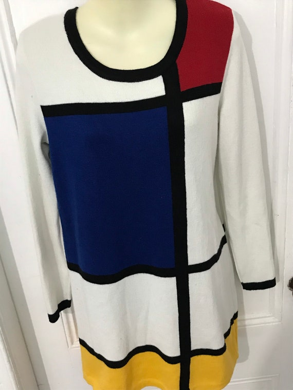 Vintage Mondrian Inspired Sweater Dress Tunic Wome