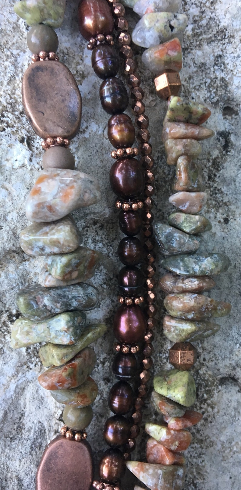 BoHo Copper /& Pearls Necklace