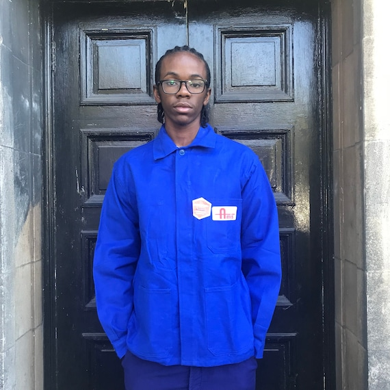 Large Blue French Workwear Jacket