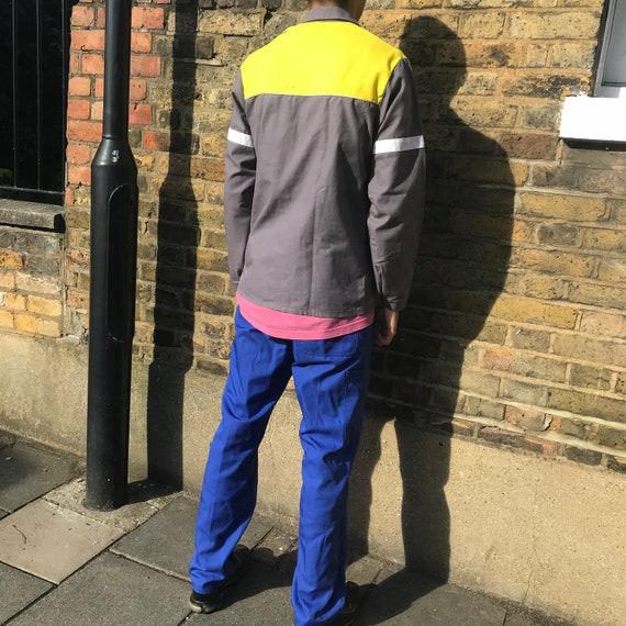 Grey and Yellow Medium French Workwear Jacket - image 8