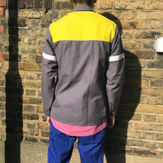 Grey and Yellow Medium French Workwear Jacket - image 7
