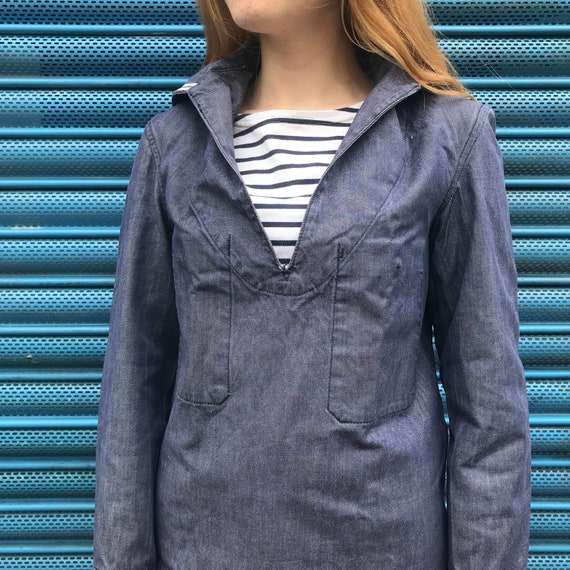 French Sailor Denim Style Smock XS