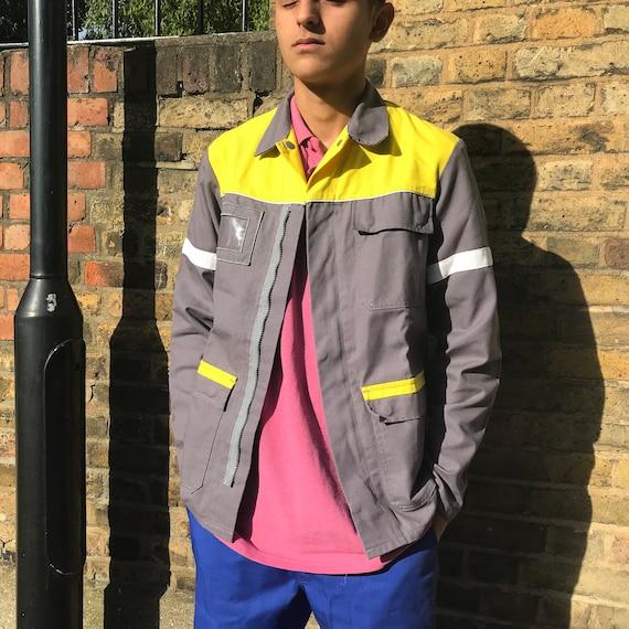 Grey and Yellow Medium French Workwear Jacket - image 2