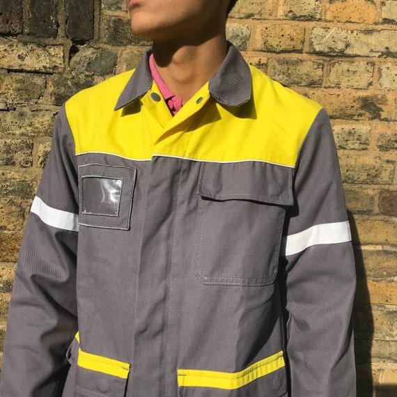 Grey and Yellow Medium French Workwear Jacket - image 3