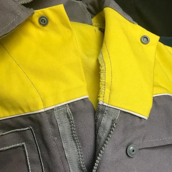 Grey and Yellow Medium French Workwear Jacket - image 9