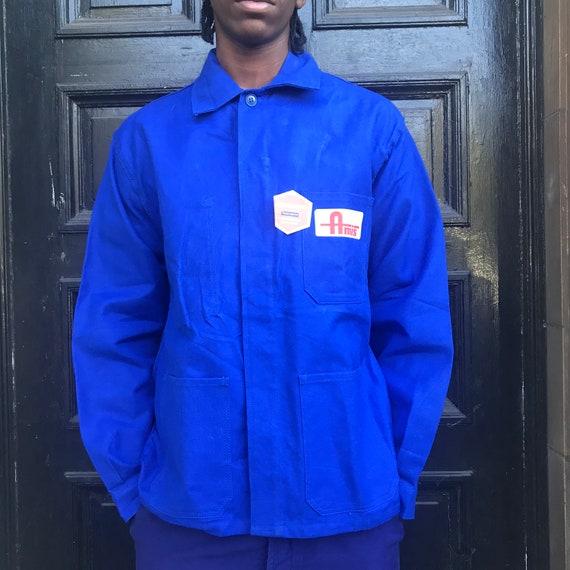 Large Blue French Workwear Jacket - image 2