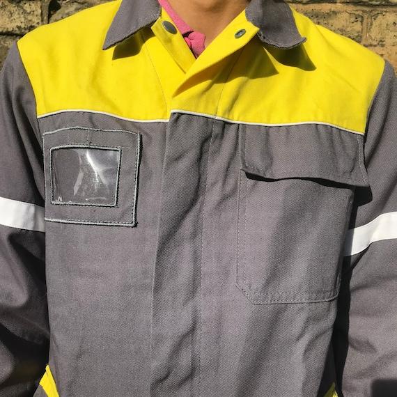 Grey and Yellow Medium French Workwear Jacket - image 4